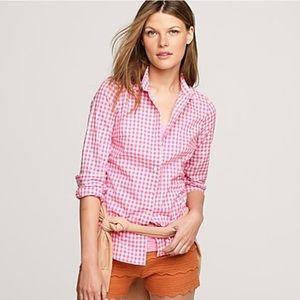 J Crew The Perfect Shirt in Neon Azalea Gingham 4